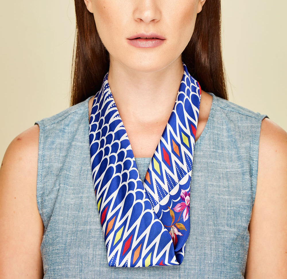 Bouganville Mini Square Scarf - Silk Satin
