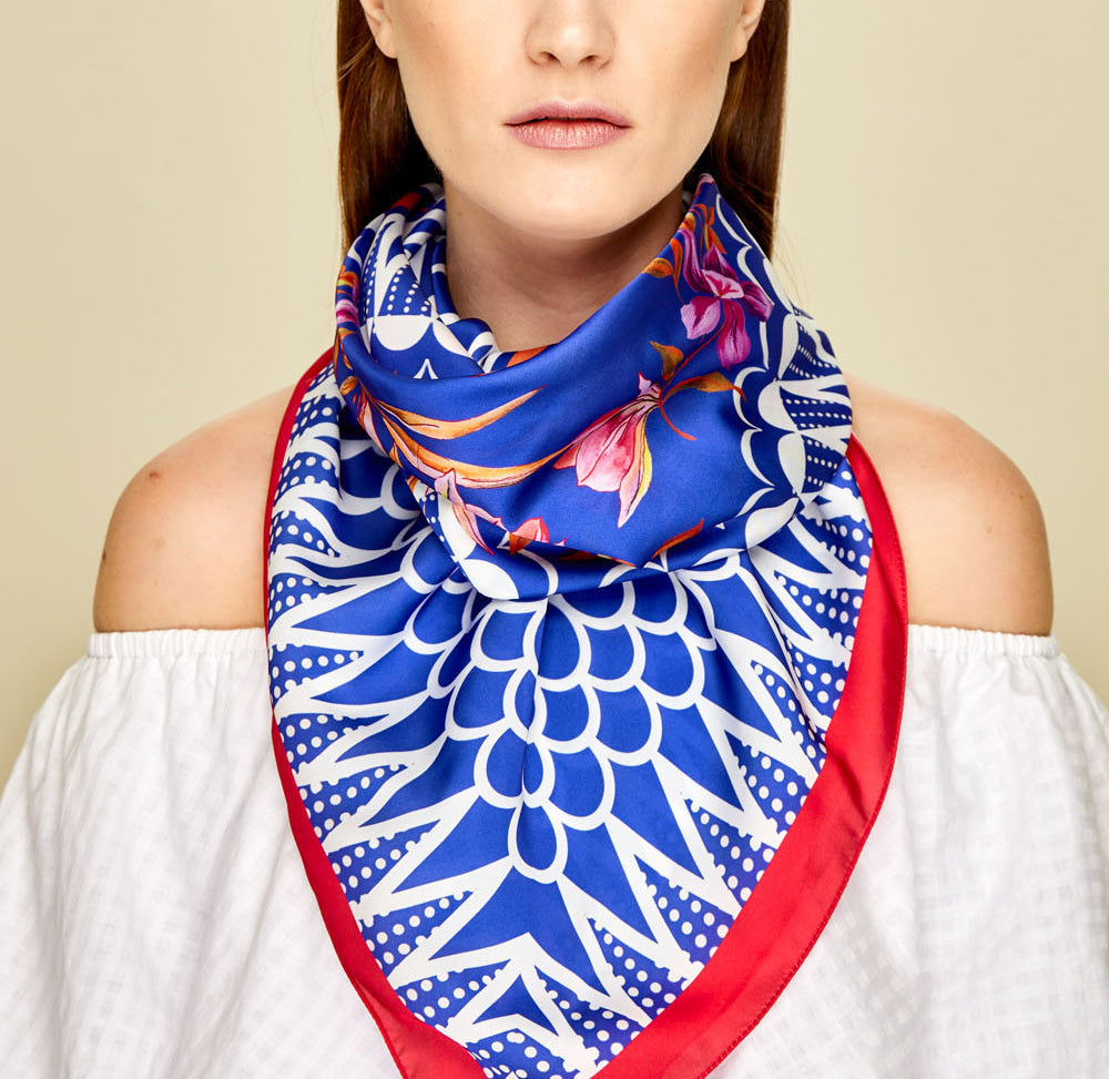 Bouganville Square Scarf - Silk Satin