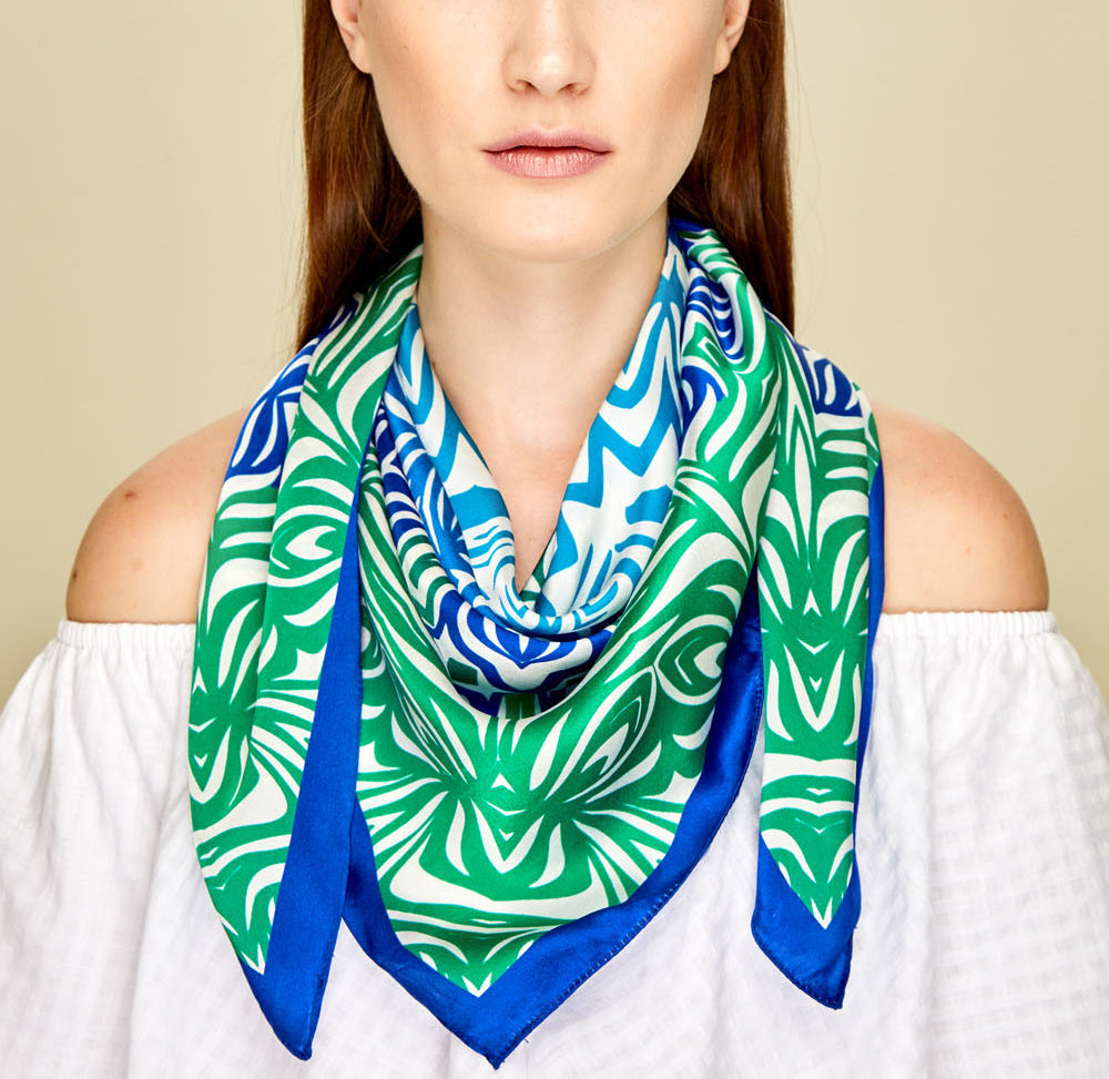 Blue Mandala Square Scarf - Silk Satin