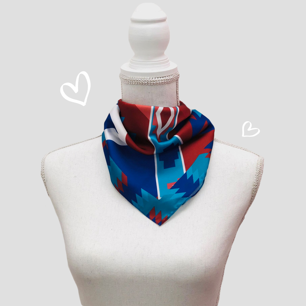 Navajo Blue Mini Scarf - Polyester Satin