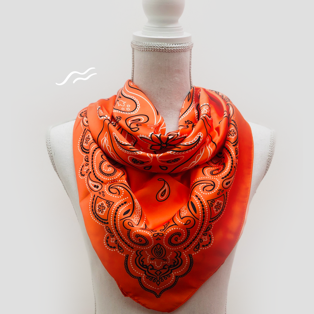 Bandana Orange Square Scarf - Polyester