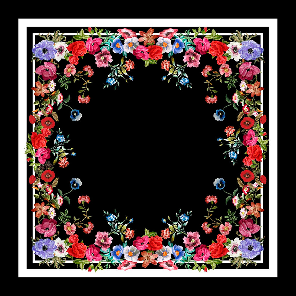 Embroidered Flowers Square Scarf - Silk Twill