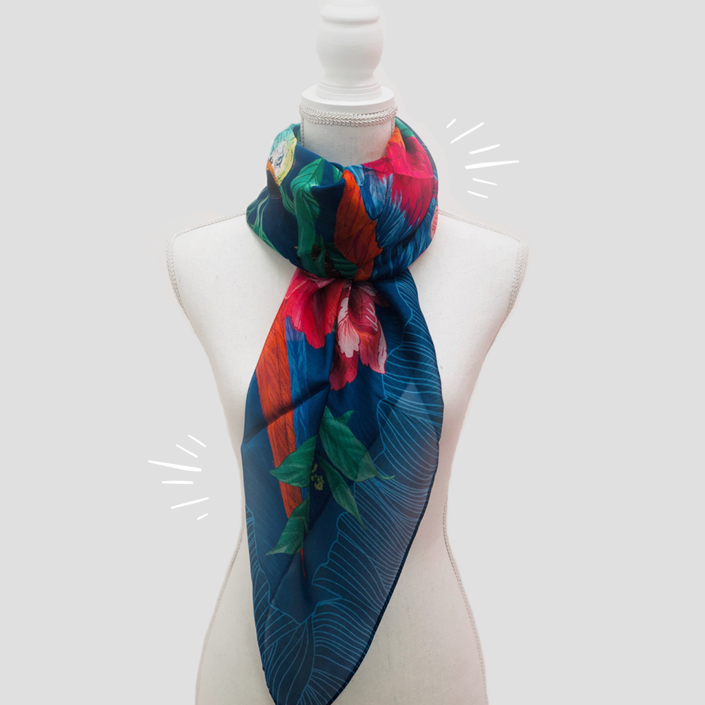 Parrots Large Square Scarf - Silk Mousseline