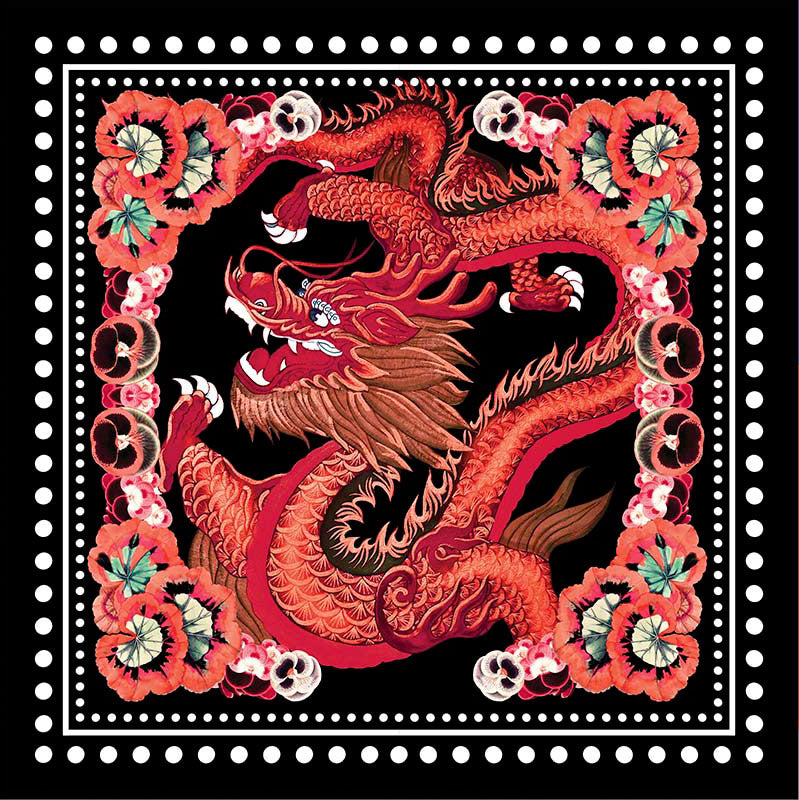 Dragon Black Large Square Scarf - Silk Mousseline