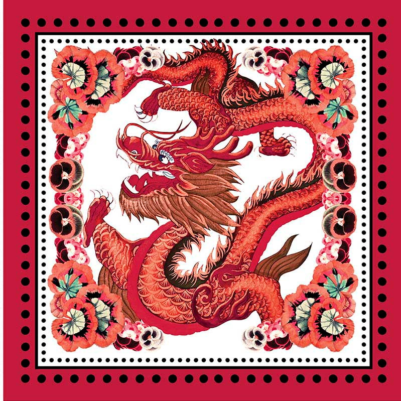 Dragon White Square Scarf - Silk Twill