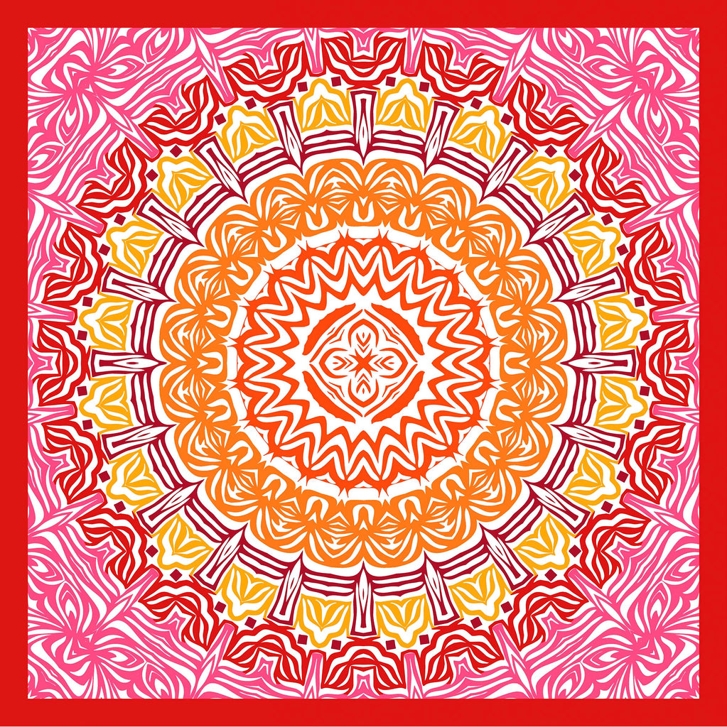 Red Mandala Square Scarf - Silk Satin