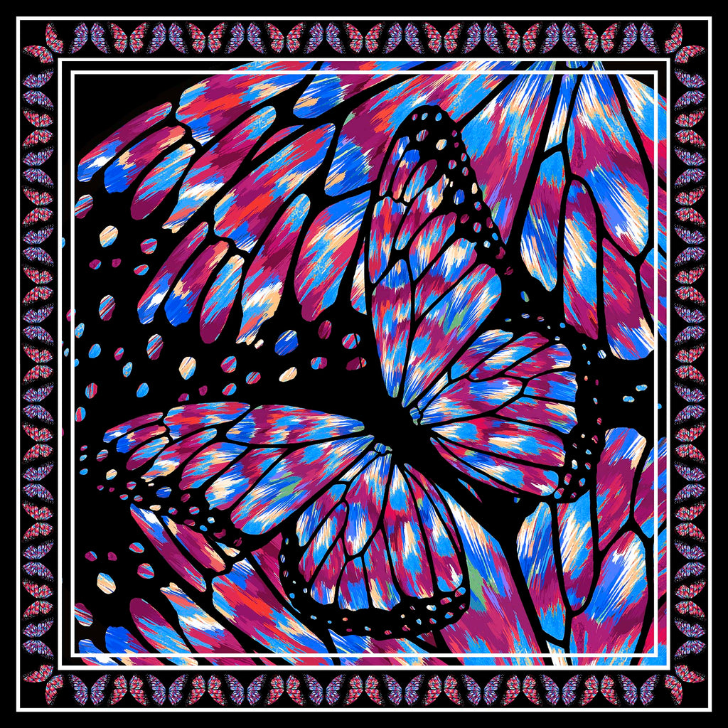 Butterfly Large Square Scarf - Silk Mousseline
