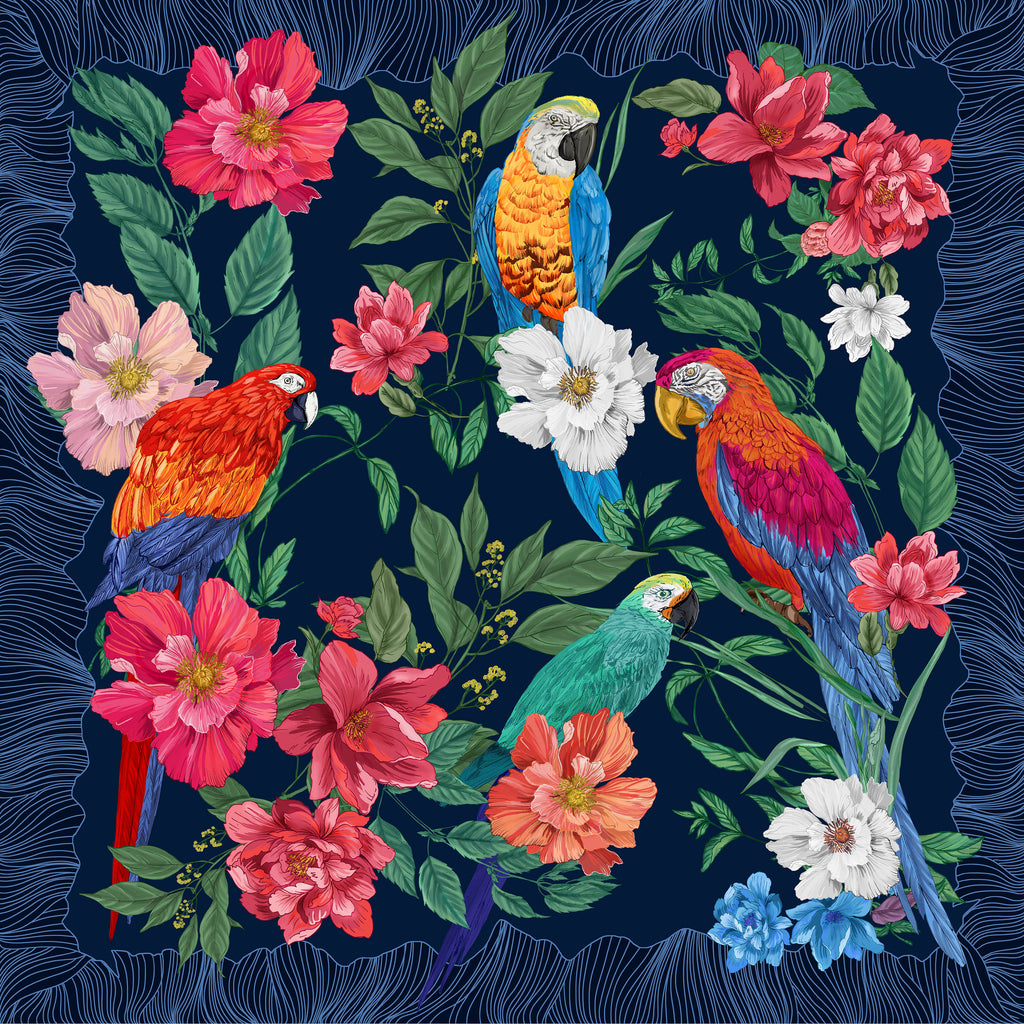 Parrots Square Scarf - Silk Twill