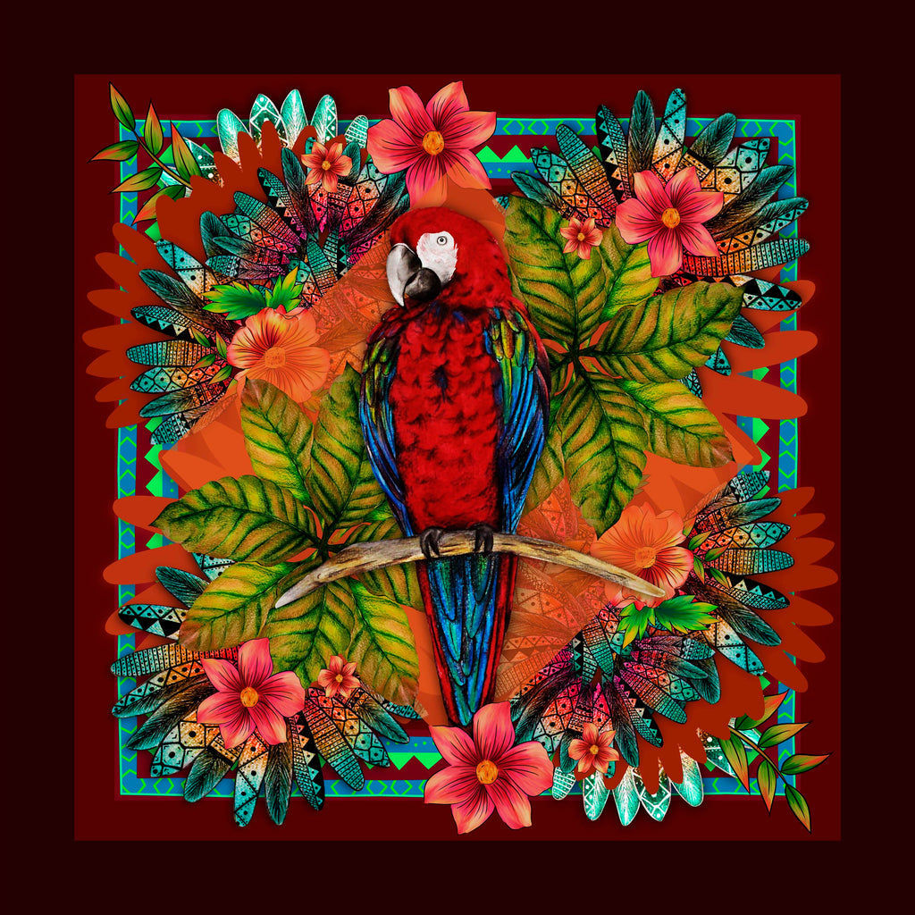 Tropical Parrot Square Scarf - Silk Twill