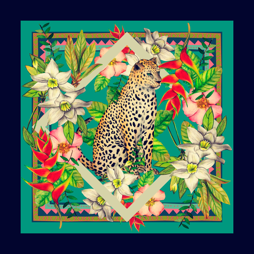 Tropical Jaguar Square Scarf - Polyester Twill