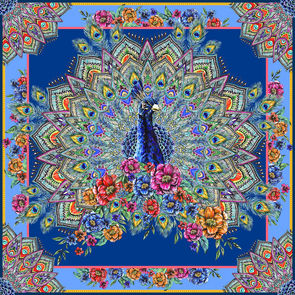 Royal Peacock Large Square Scarf - Silk Twill
