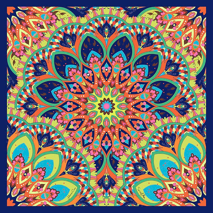 Mandala Colors Small Square Scarf - Silk Satin