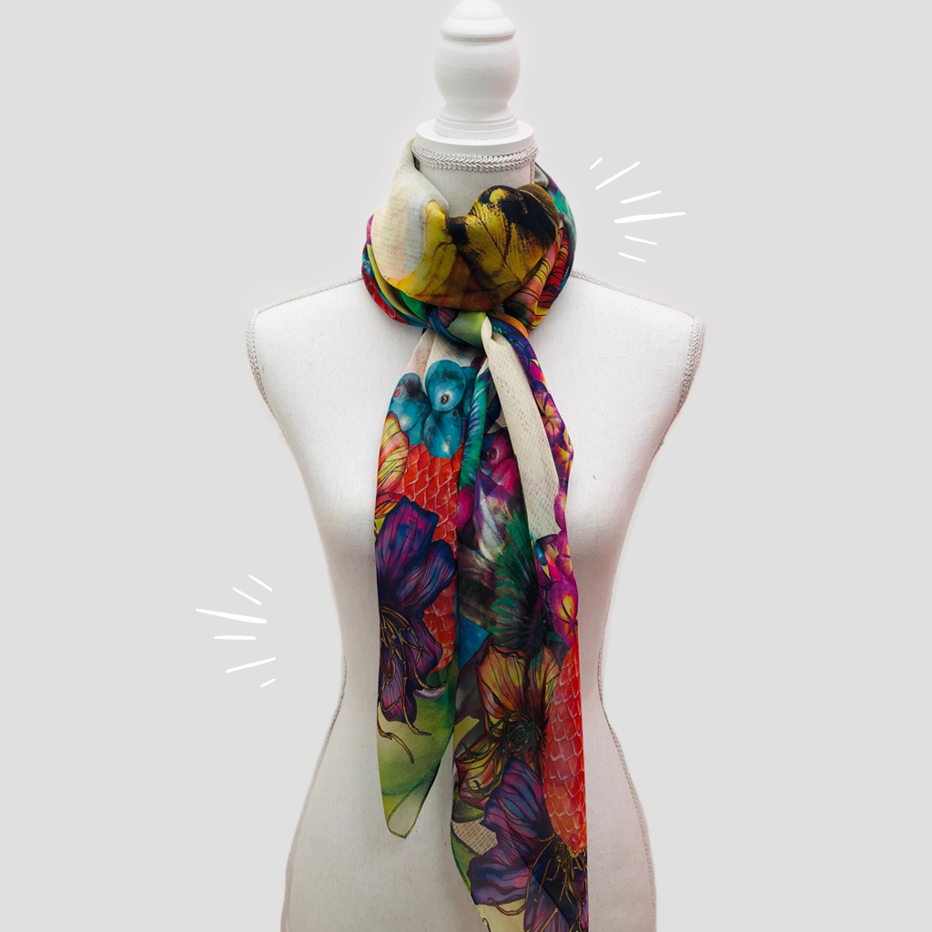 Blue Parrot Large Square Scarf - Silk Mousseline