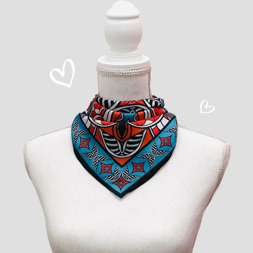 Queen of Hearts Mini Scarf - Polyester Satin