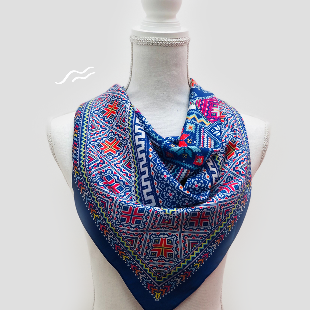Blue Tile Square Scarf - Polyester