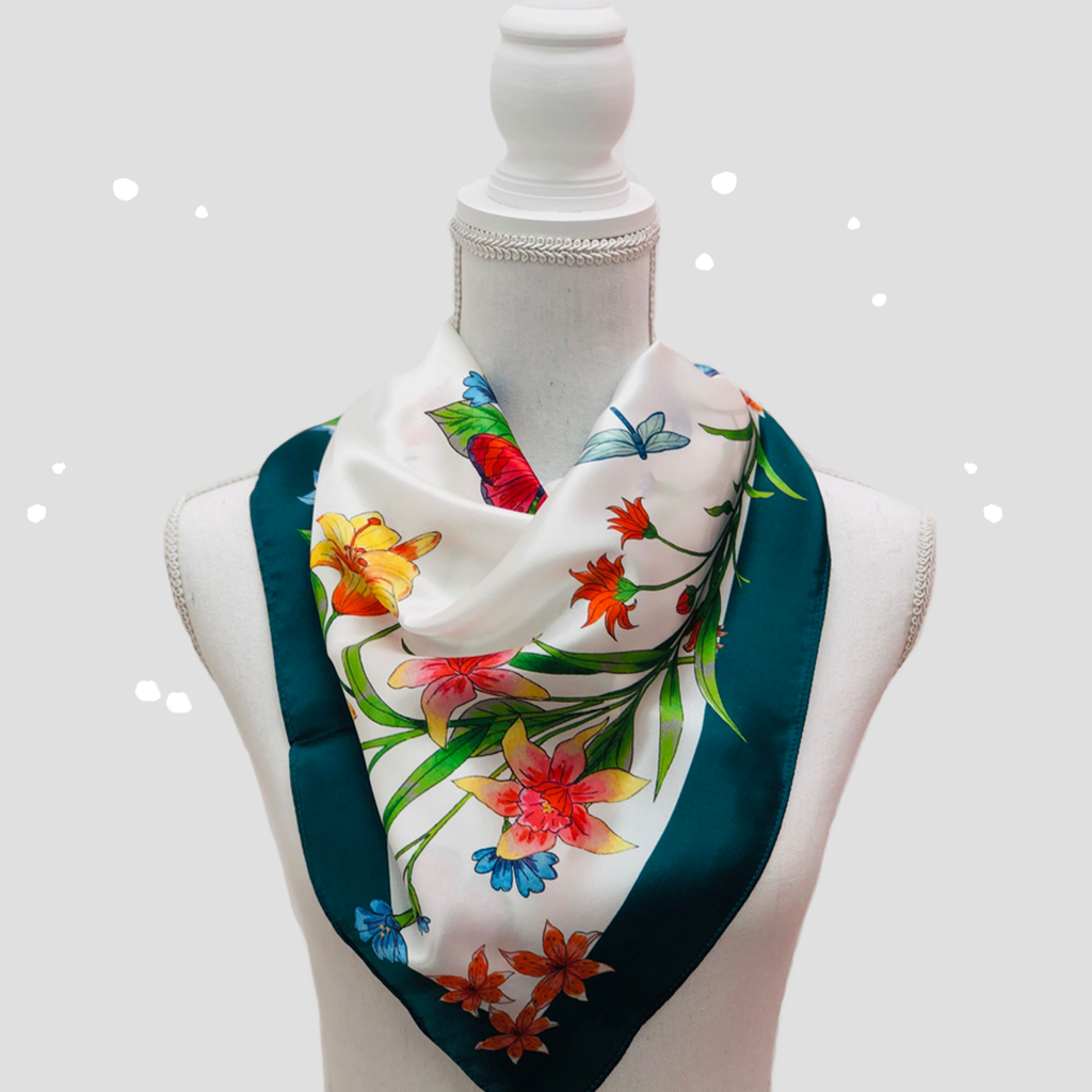 Flower Crown Square Scarf - Silk Satin