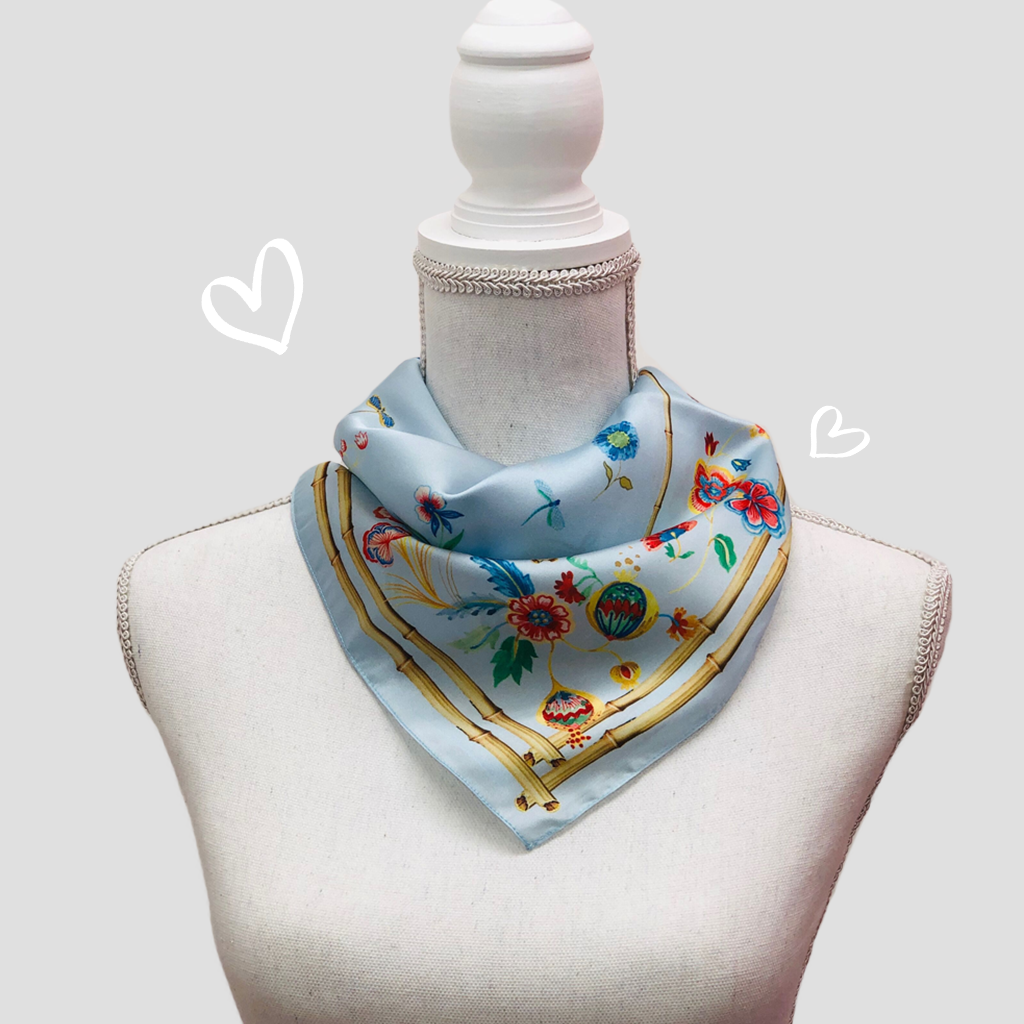 Floral Bamboo Mini Scarf - Polyester Satin