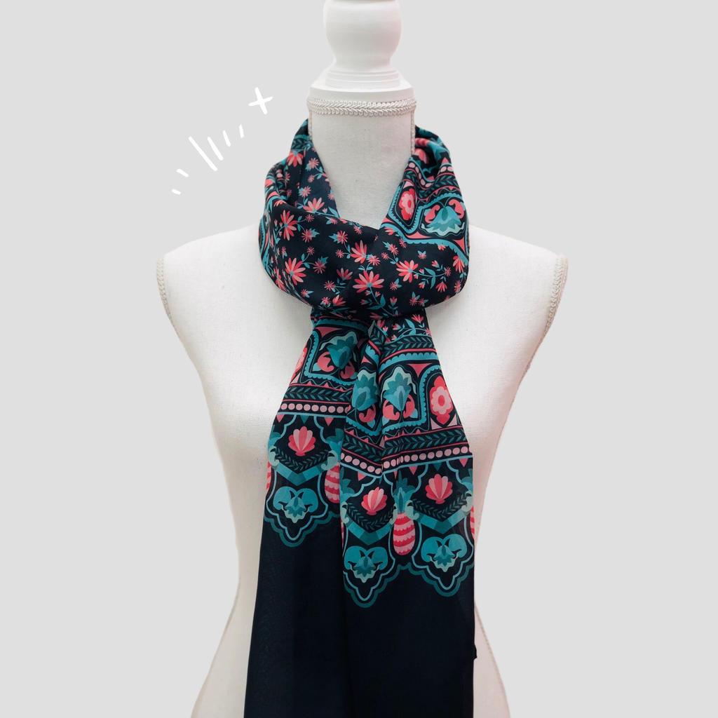 Floral Black Shawl - Polyester Mousseline