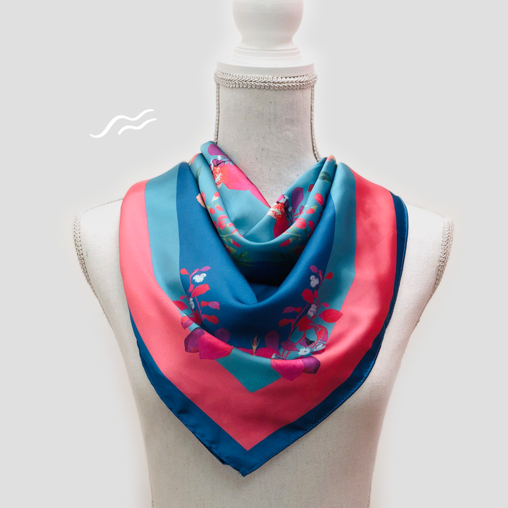 Floral Blue Square Scarf - Polyester