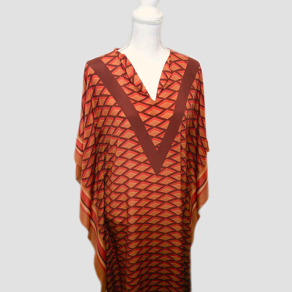 Long Silk Caftan - Geometric