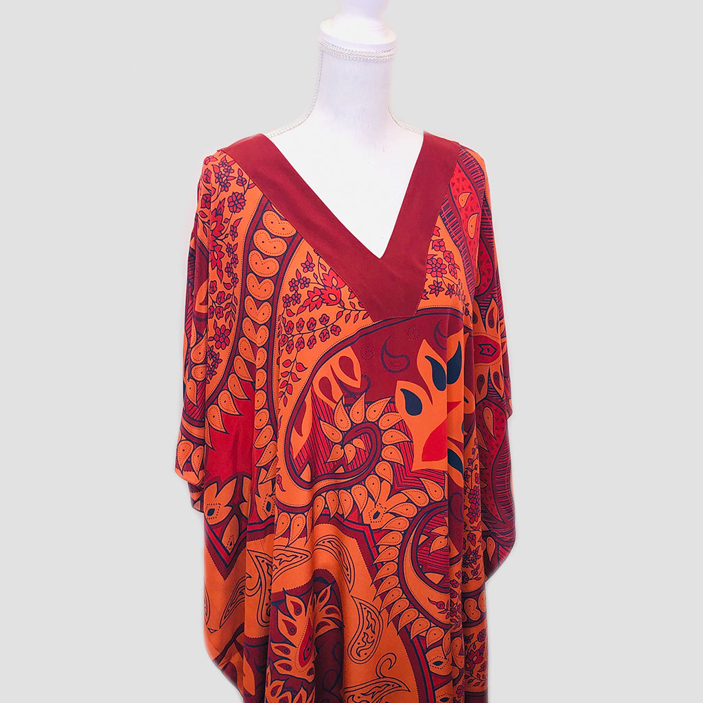 Long Silk Caftan - Paisley