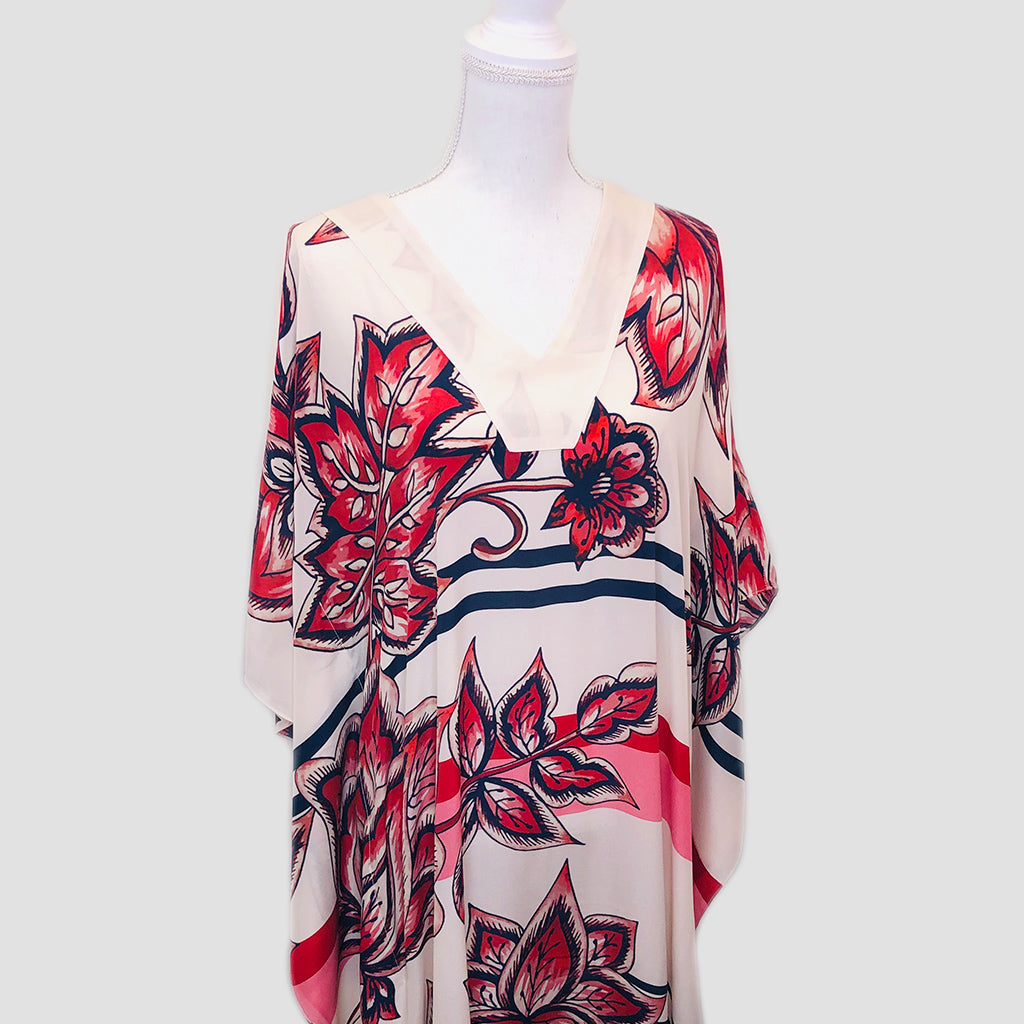 Long Silk Caftan - Pink Flowers