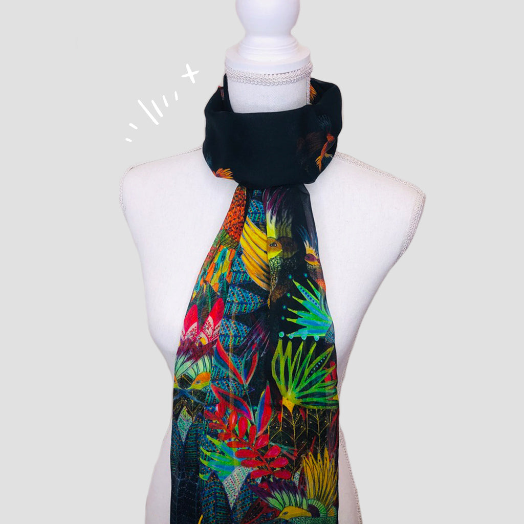 Birds Shawl - Silk Mousseline