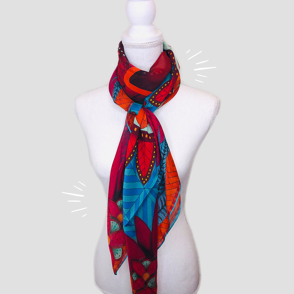 Bull Large Square Scarf - Silk Mousseline