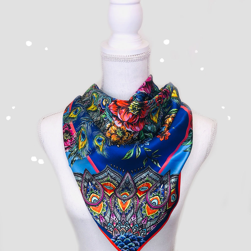 Royal Peacock Square Scarf - Silk Satin