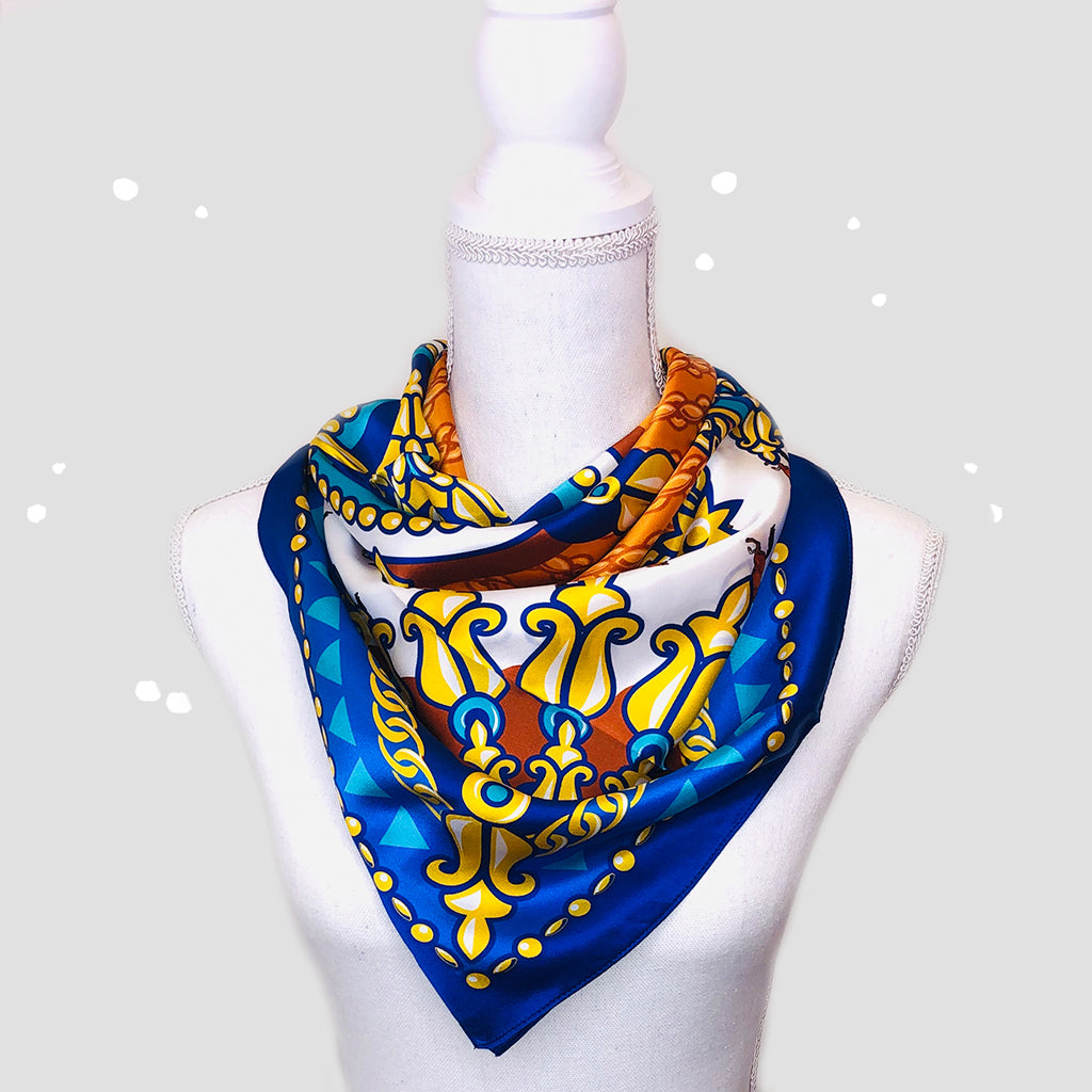 Golden Horse Square Scarf - Silk Satin