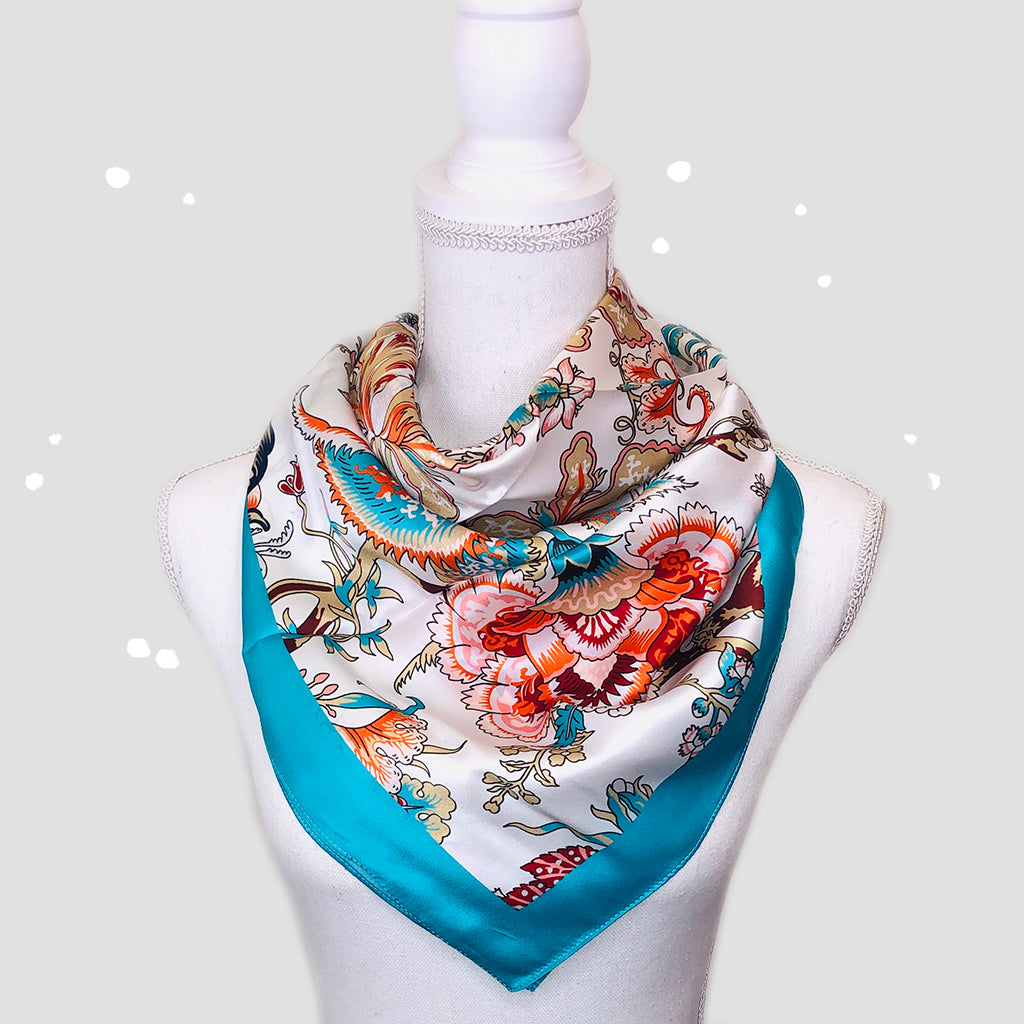 Delicate Flowers Square Scarf - Silk Satin