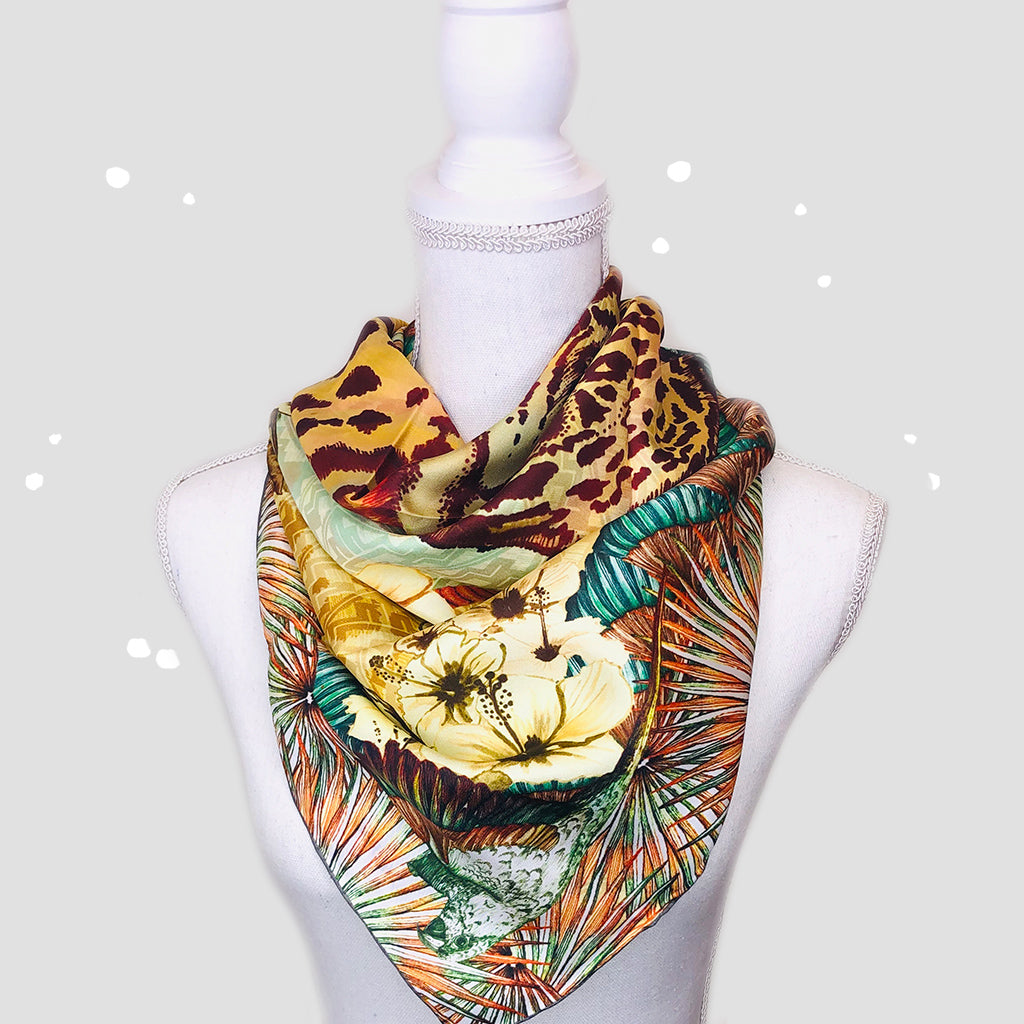 Africa Square Scarf - Silk Twill