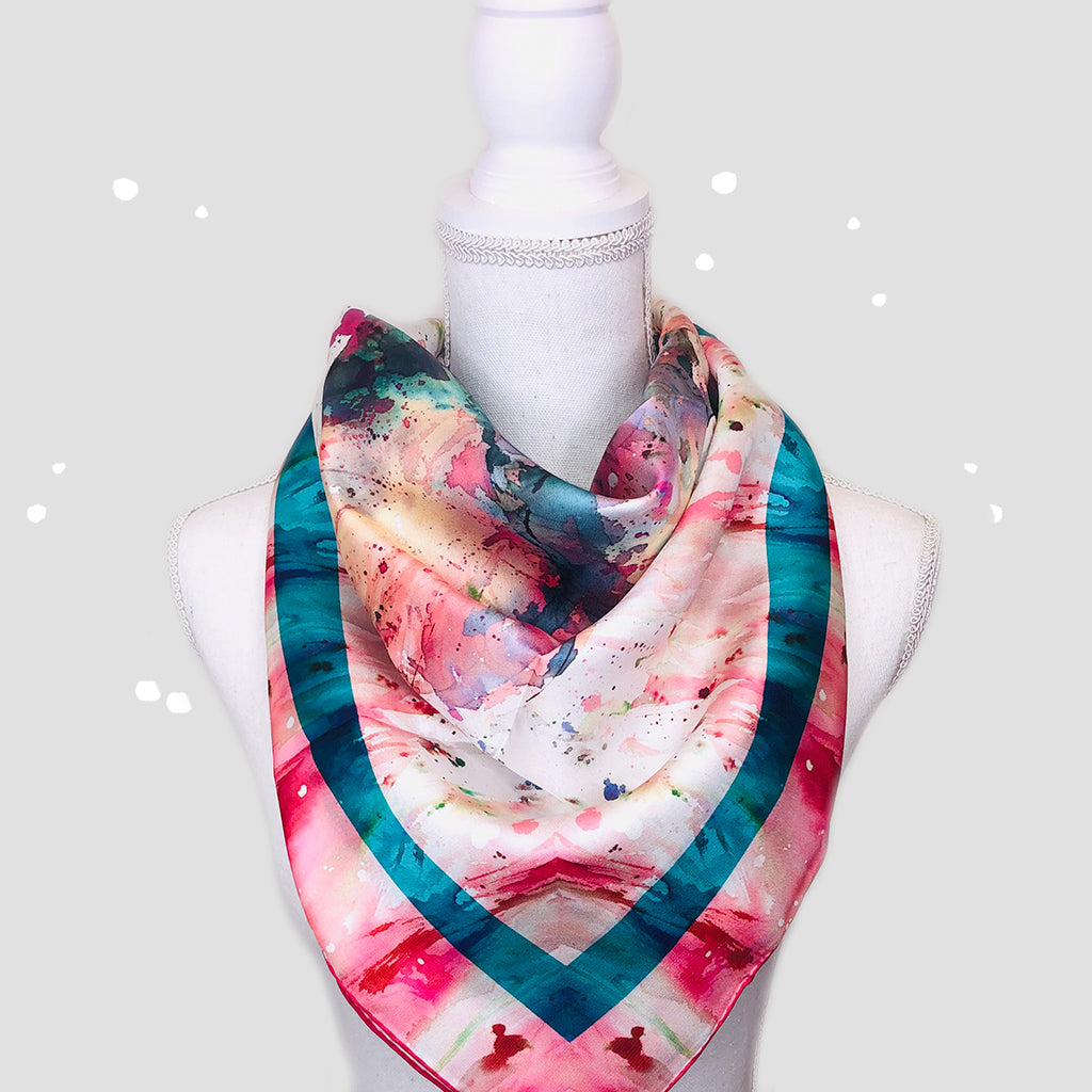 Pink Elephant Square Scarf - Silk Twill