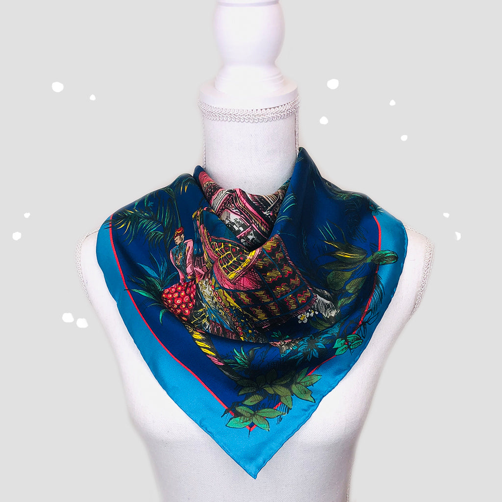 Toile De Jouy Blue Square Scarf - Silk Twill