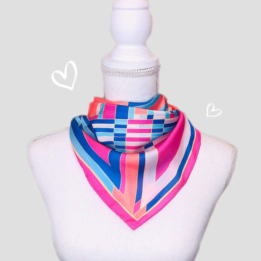 Bauhaus Small Square Scarf - Polyester Satin