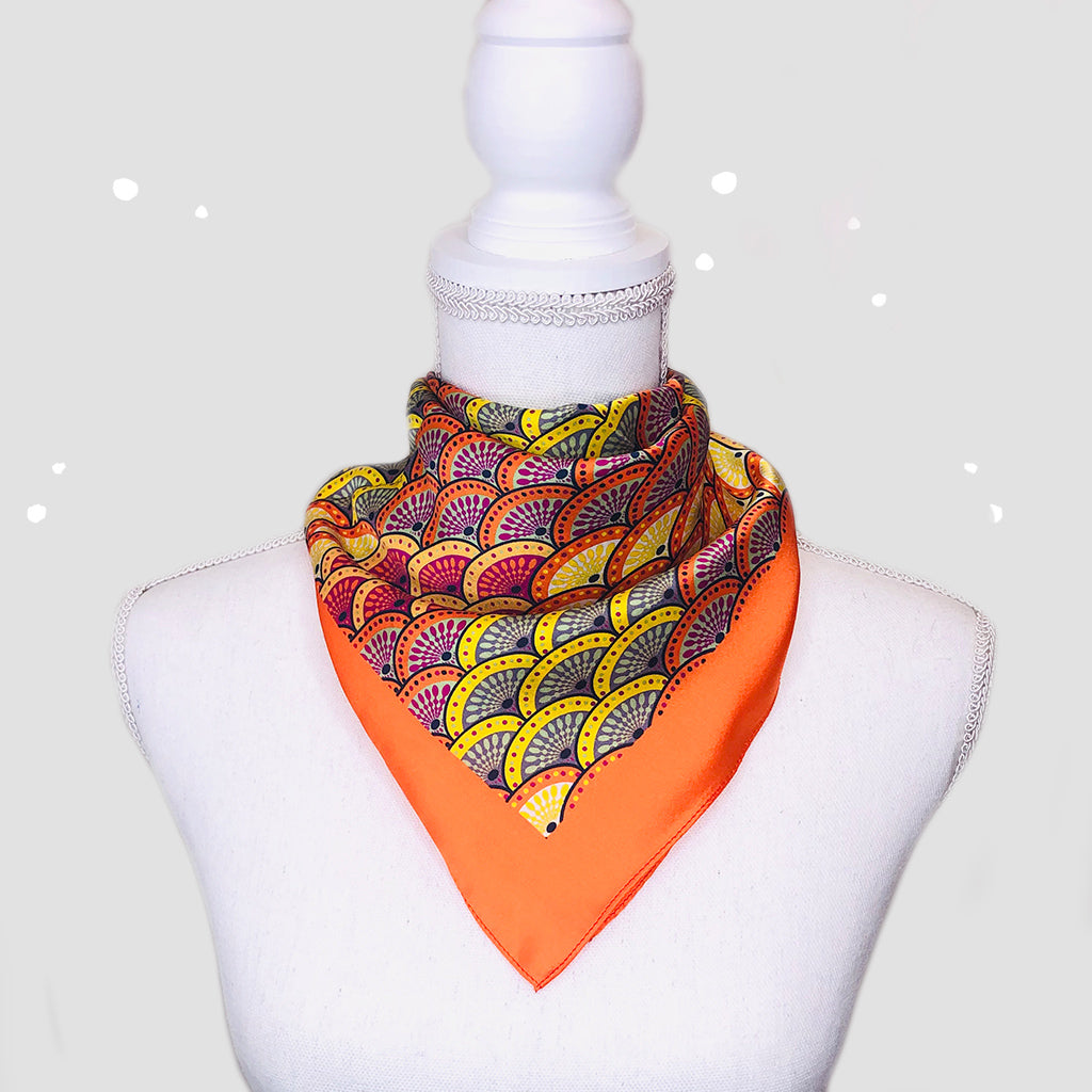 Geo Scale Orange Small Square Scarf - Silk Satin