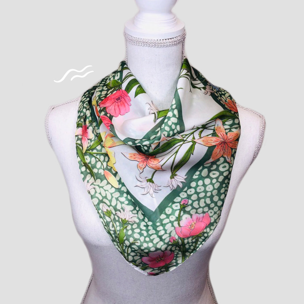 Botanical Square Scarf - Polyester