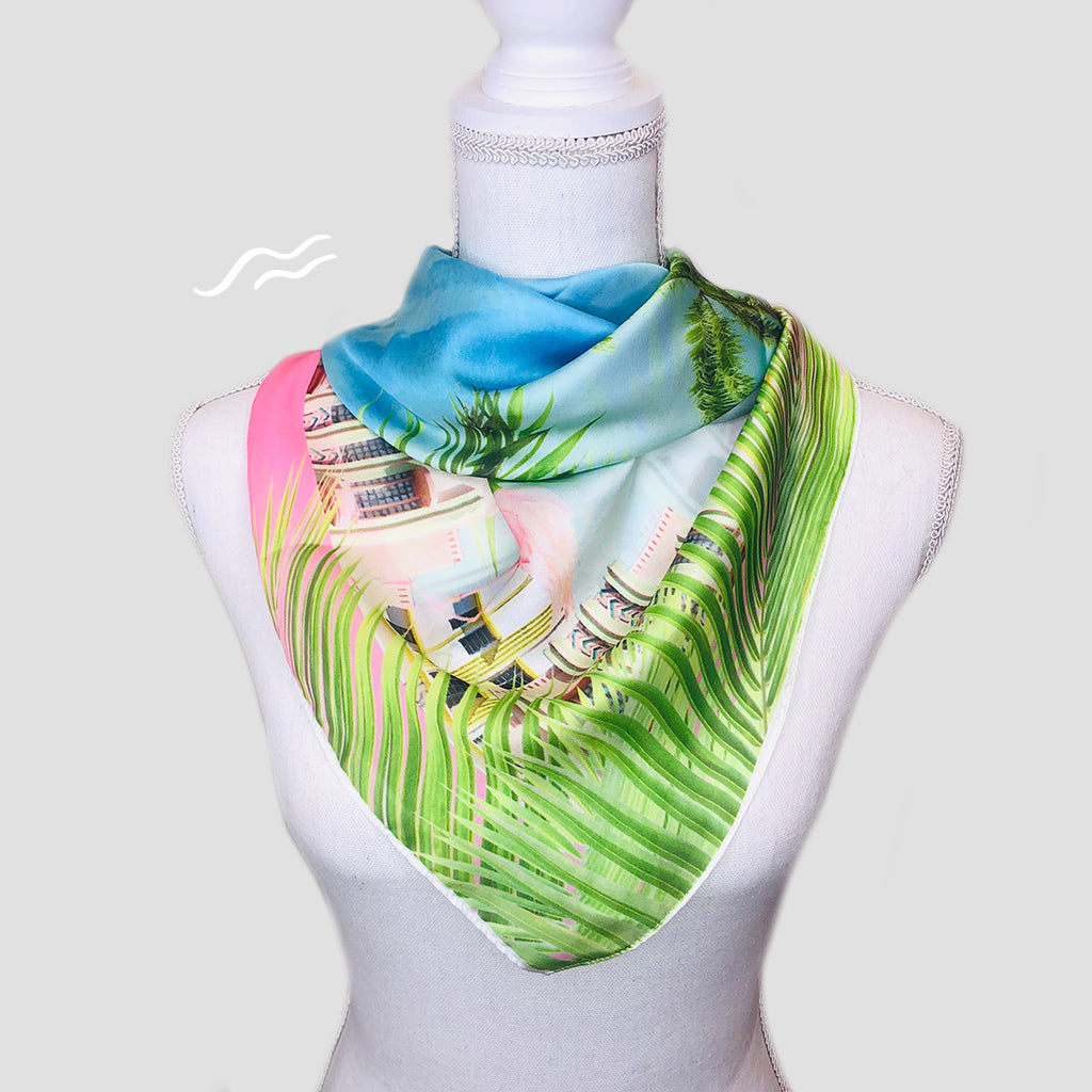 Ocean Drive Square Scarf - Polyester Satin