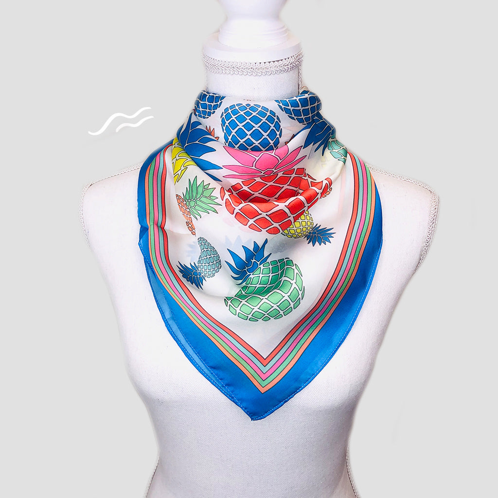 Pineapples Square Scarf - Polyester Satin