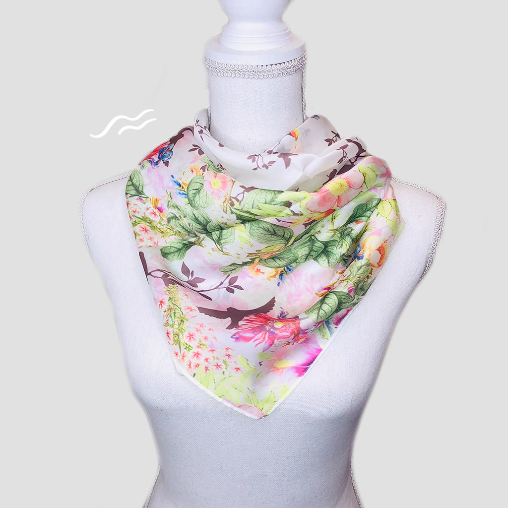 Happiness Square Scarf - Polyester Satin