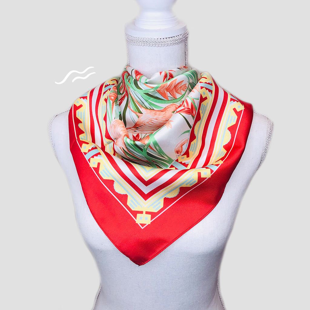Miami Flamingos Square Scarf - Polyester Twill