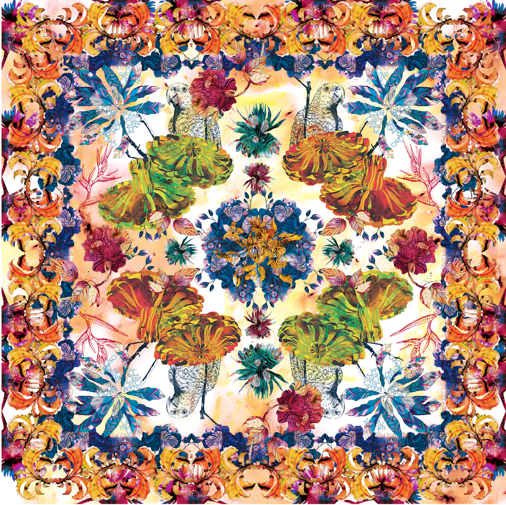 Tropical Square Scarf - Silk Twill