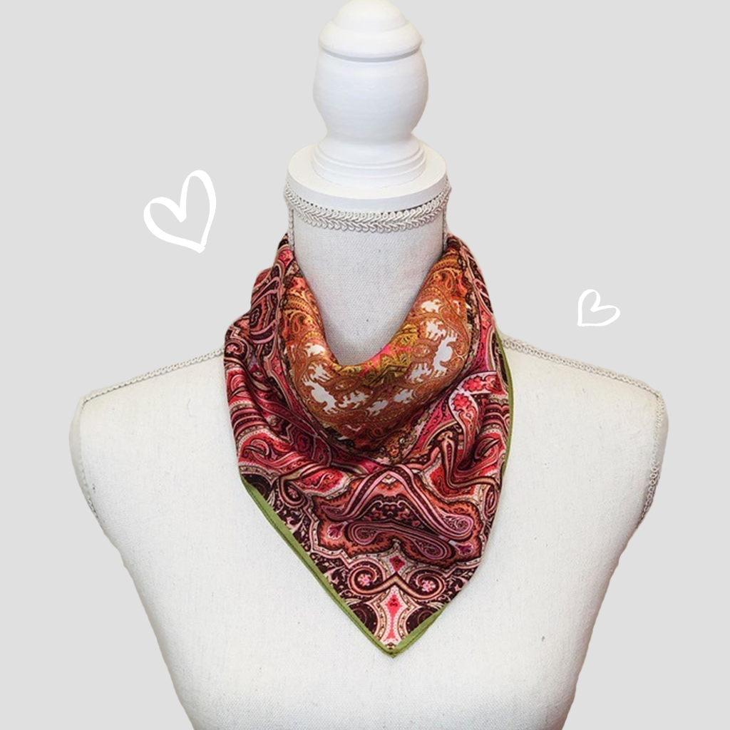 Paisley Flowers Mini Scarf - Polyester Satin