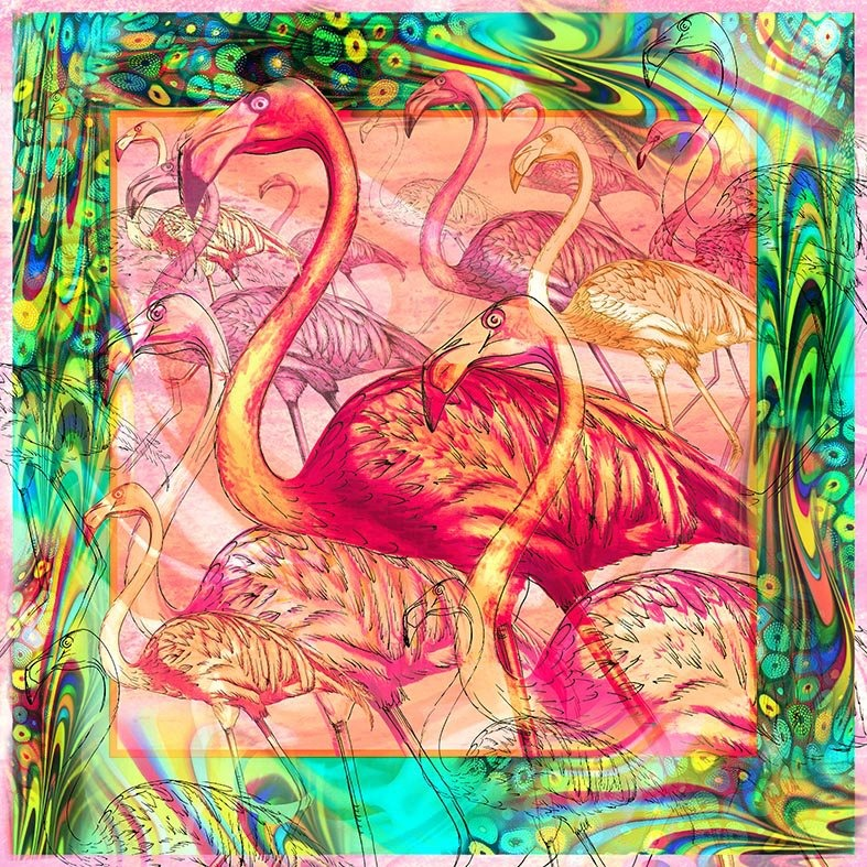 Flamingos Large Square Scarf - Silk Mousseline
