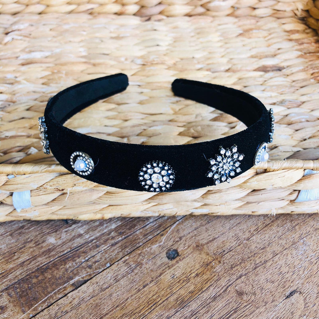 Headband - Thin Velvet with Stones Tiara