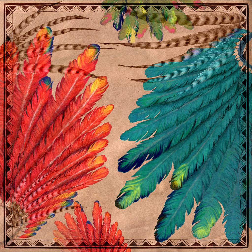 Feathers Square Scarf - Silk Twill