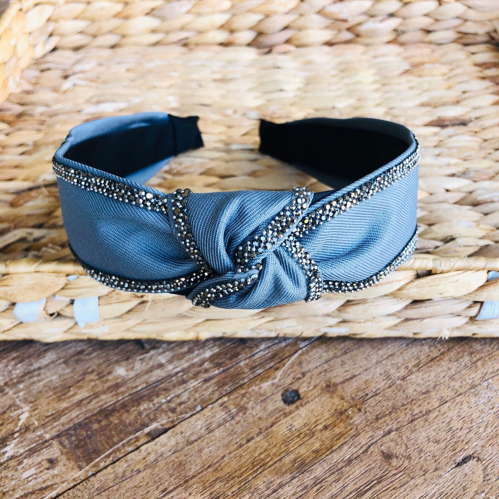 Headband - Jeans Fabric with Crystals Tiara