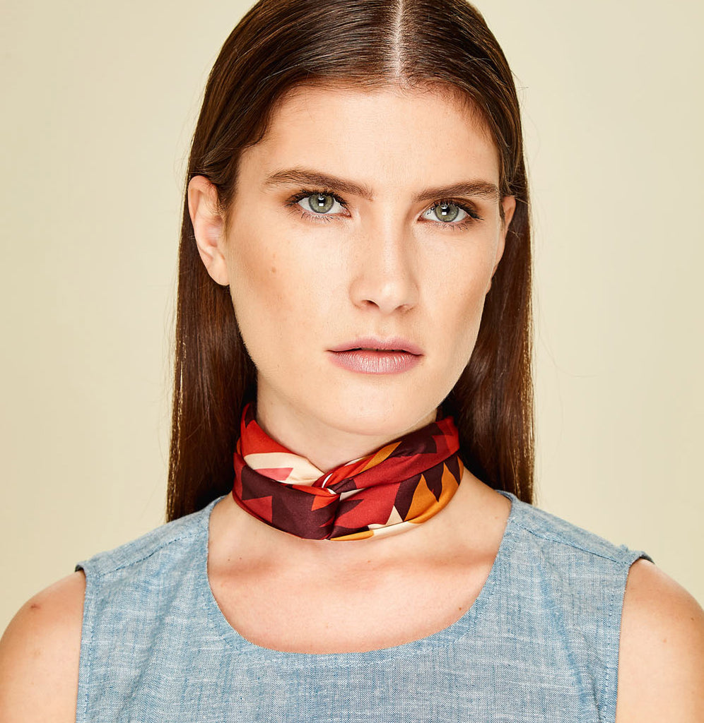 Navajo Red Mini Scarf - Polyester Satin