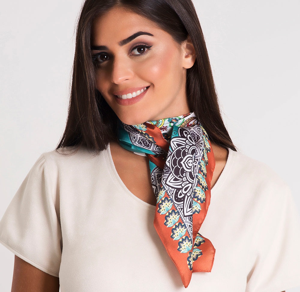 Blue Embellishment Square Scarf - Polyester