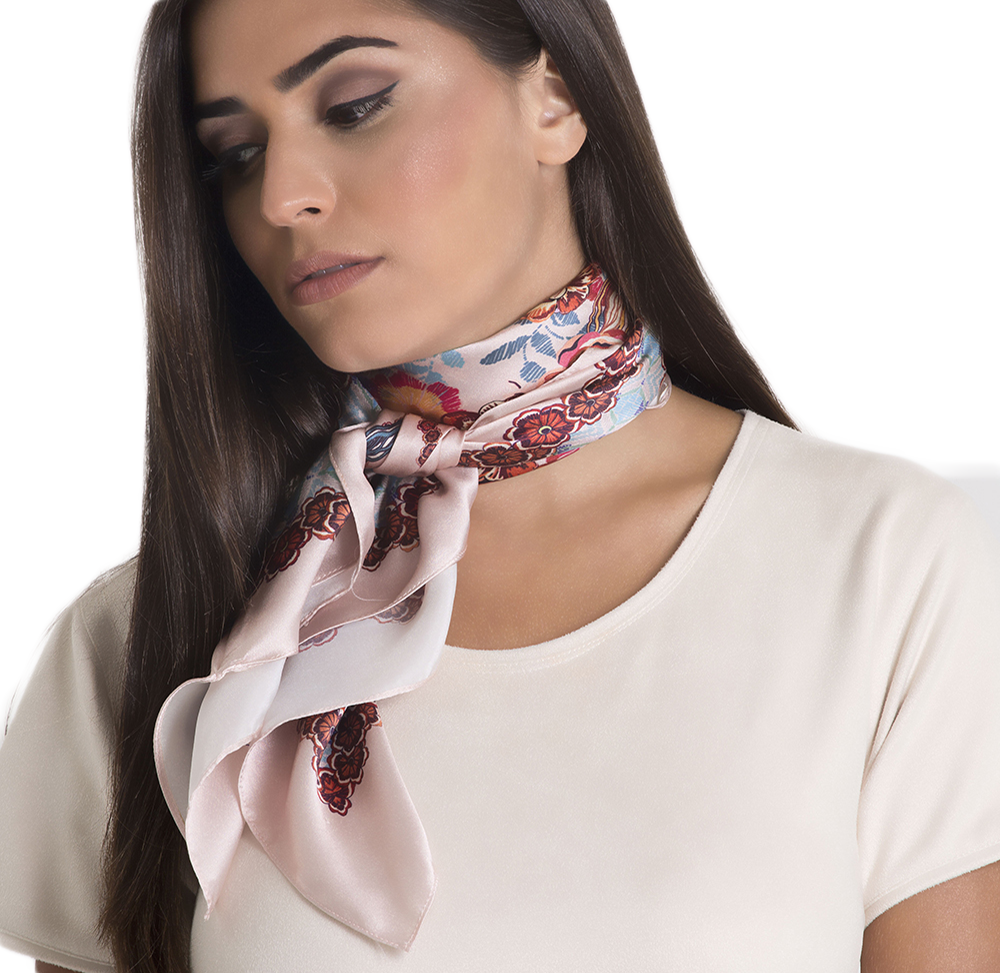 Autumn Square Square Scarf - Silk Satin